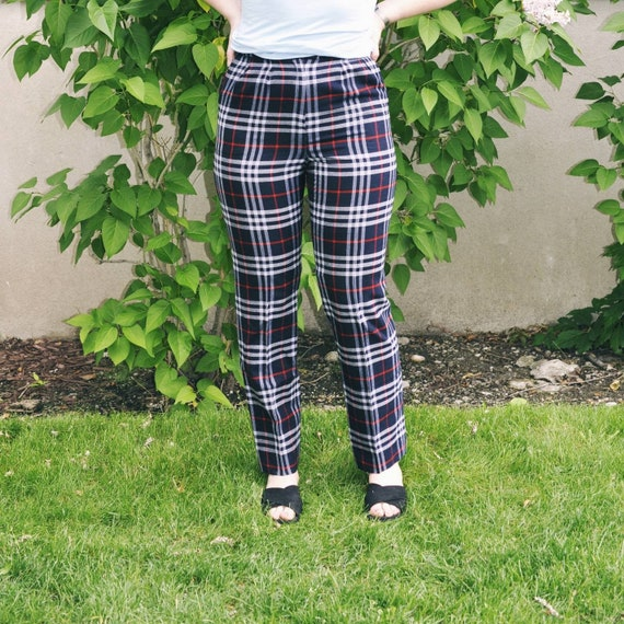 Burberry trousers, Burberry check pants, tartan tr