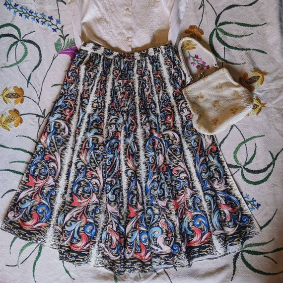 Vintage hand painted circle skirt with metallic ac