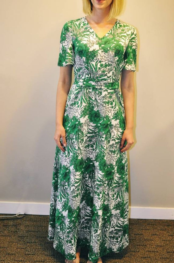 70s green floral maxi dress, statement floral dres