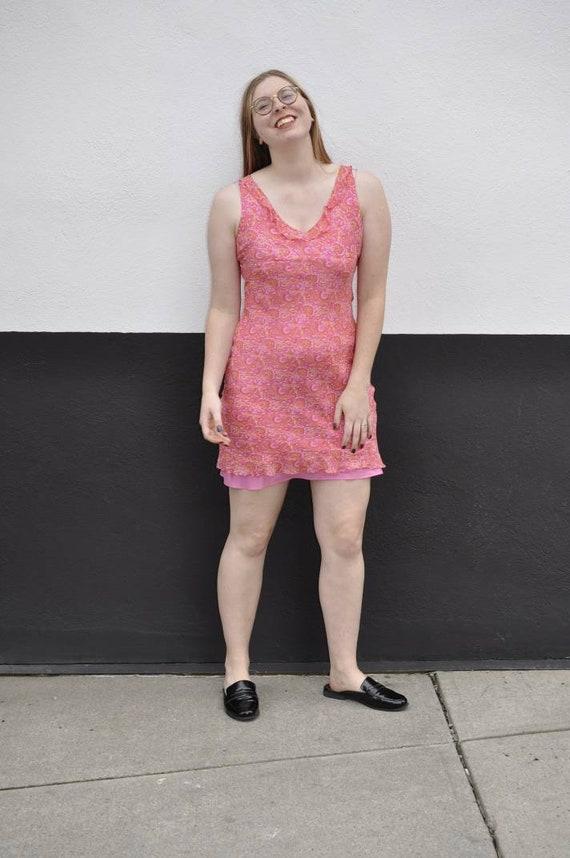 Silk Holt Renfrew dress, 90's pink paisley dress,