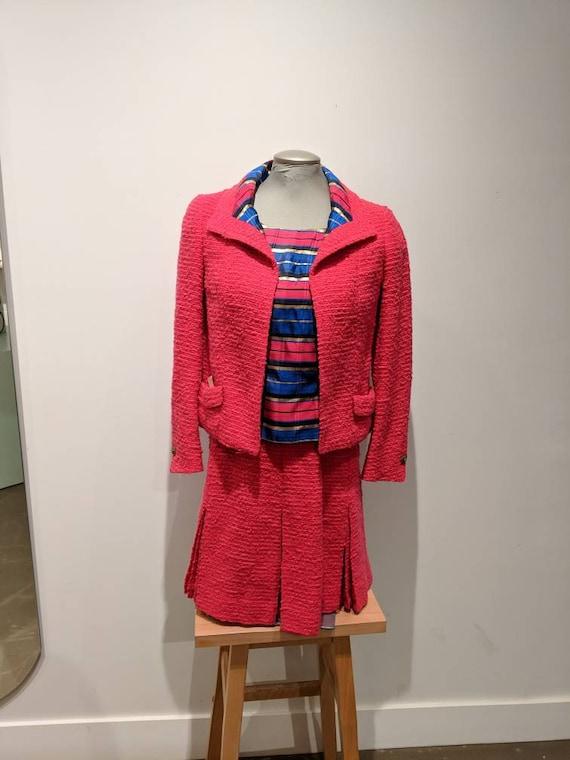 Holt Renfrew vintage suit, pink suit, pink wool su