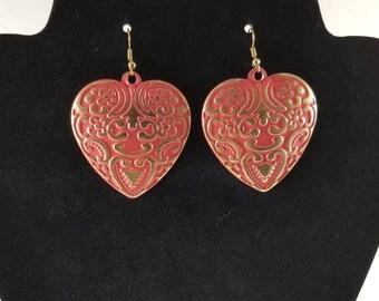 Metallic Heart Shaped Unique Pink Earrings