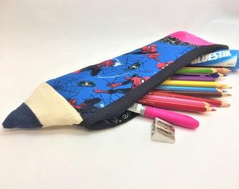 Large Pencil shaped Pencil Case Spiderman or Owls