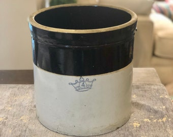 Vintage Robinson Ransbottom Pottery Co Crown Brown And Cream 4 Gallon Crock 1930s