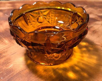 Vintage Amber Cut Glass Pedestal Bowl
