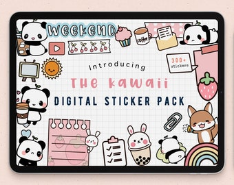 cute digital sticker pack |kawaii Goodnotes Stickers | panda stickers download PNG | functional stickers  | checklist Notability