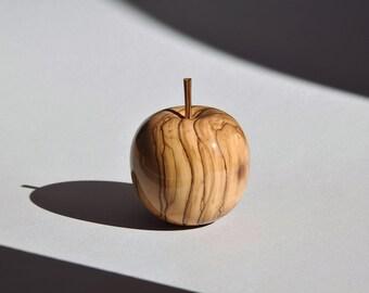Toothpick Holder Olive Wood Apple Bethlehem Carved Wood Craft Unique Hand Made