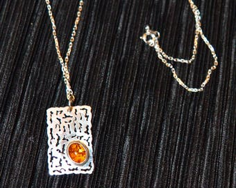 SILVER SUNSET -  Handcrafted Silver Filigree & Precious Amber stone