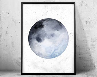 Watercolor Full Moon Painting Instant Download Digital Print Galaxy Solar System Space Blue Gray Minimalist Art Home Decor