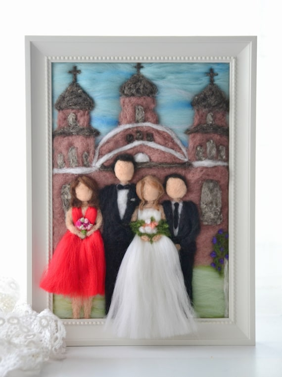 custom animal portrait wedding portraits Custom family portrait needle felt custom couple portrait