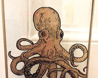Octopus, bestiary on glass