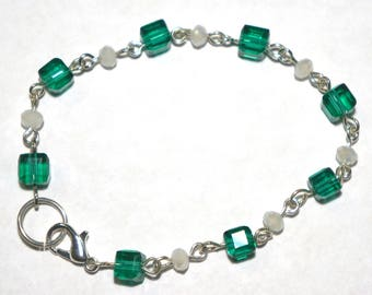 White and Green Cube Bracelet
