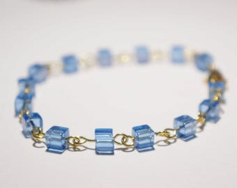 Blue and Gold Cube Bracelet