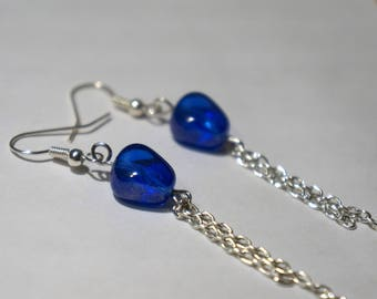 Blue Bead and Chain Earrings