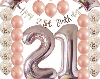 Ultimate 21st Rose Gold Twenty First Birthday Pack 21 Garland Balloons Decorations One Party Decor
