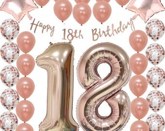 Ultimate 18th Rose Gold Eighteenth Birthday Pack 18 Garland Balloons Decorations Eighteen Party Decor