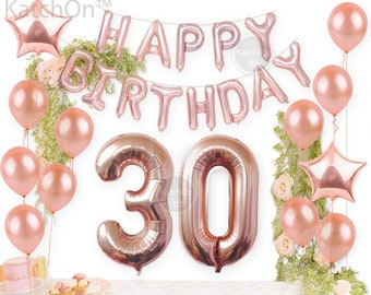 Happy 30th Rose Gold Birthday Pack 30 Thirtieth Garland Balloons Decorations Dirty Thirty Party