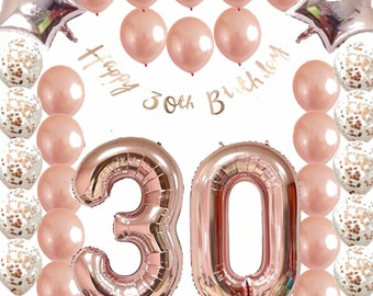 Ultimate 30th Rose Gold Birthday Pack 30 Thirtieth Garland Balloons Decorations Dirty Thirty Party Happy