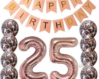 25th Rose Gold Birthday Pack 25 Garland Balloons Twenty Five Decorations Happy Party