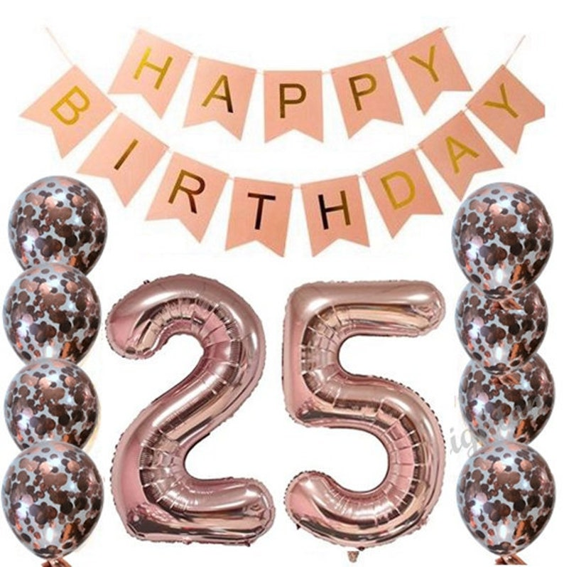 25th Rose Gold Birthday Pack 25 Garland Balloons Twenty Five