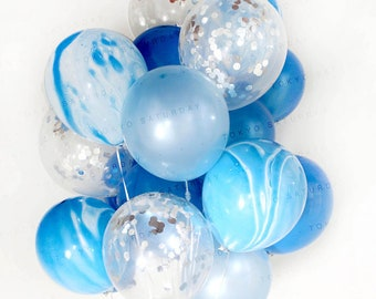 """Blue Silver Marble Balloons Set 20 Pack // Silver Confetti Balloons // Pear White Latex Balloons Thickened 12"""" 20pcs, Ready To Inflate"""