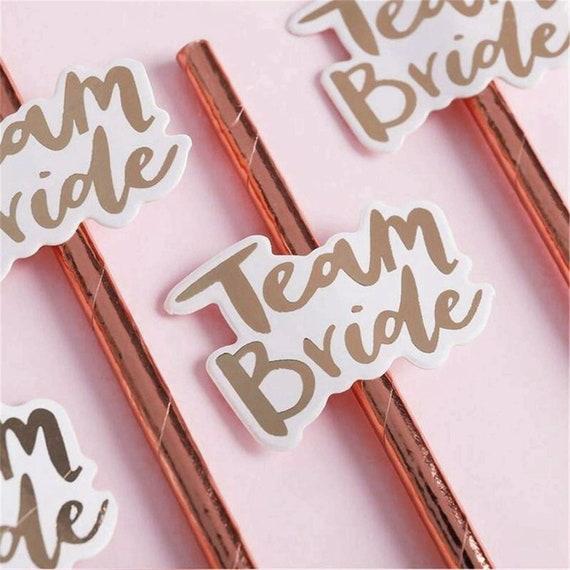 Rose Gold Team Bride Hen Party Straws