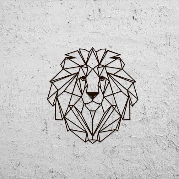 Métal Décoration Murale Art Géométrique Tête Lion Animal En Etsy