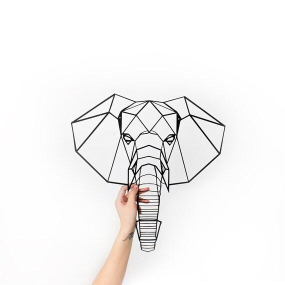 L phant en m tal art mural t te g om trique animaux accueil - Tete d elephant mural ...