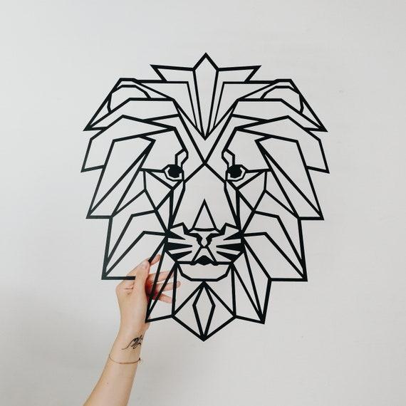 Metal Decoration Murale Art Geometrique Tete Lion Animal En Etsy