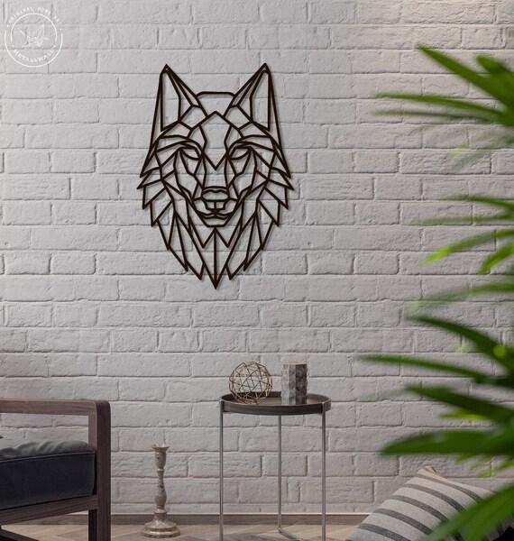 Wolf Metal Wall Art Geometric Animals Metal Wall Hangings Home Etsy