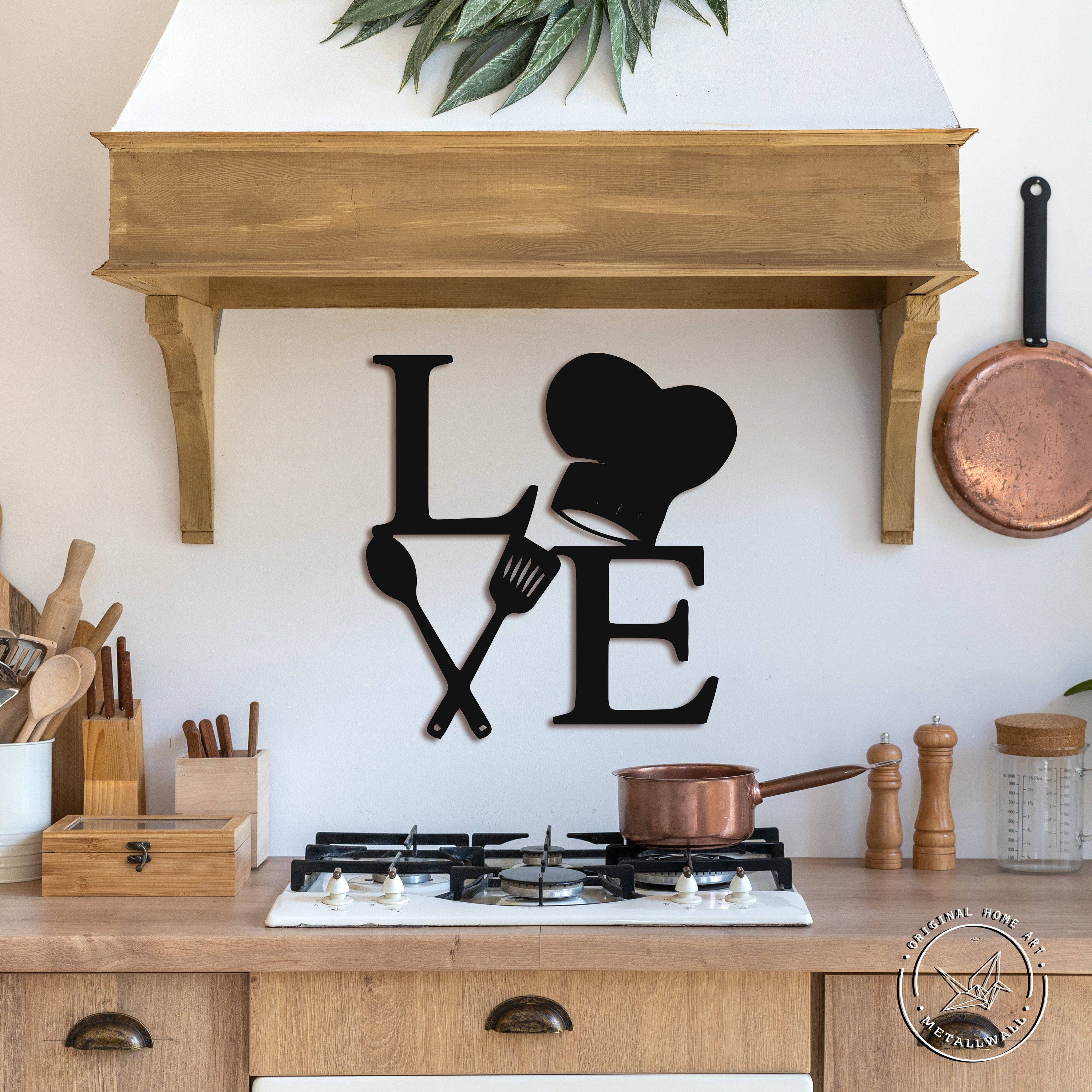 Quote Wall Sign Kitchen wall signs Wall Hanging Housewarming Gift This kitchen is seasoned with Love Metal Wall Art Metall Letters