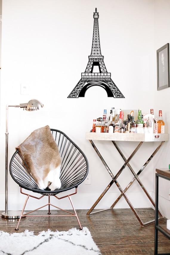 Metal Wall Art Geometric Eiffel Tower head steel Home Decor | Etsy