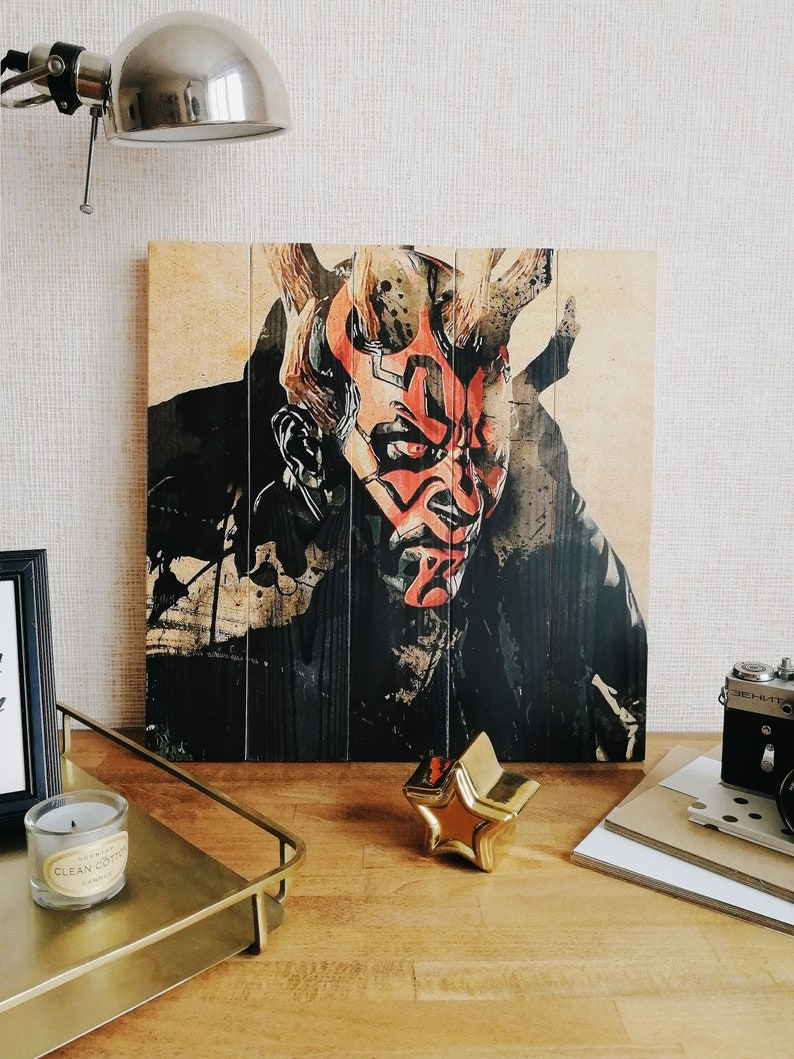 Picture On Pallet Star Wars Wooden Pallet Art Pallet Wall Art Rustic Home Decor Wooden Signs Unique Gift Interior Sign Wood Print Darth Maul