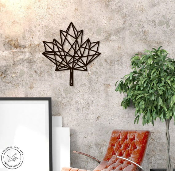 Metal Wall Art Geometric Maple Leaf Home Decor Sign Steel Scandi Minimalistic Gift Living Room Canadian Lodge Monochrome Nursery Hanging