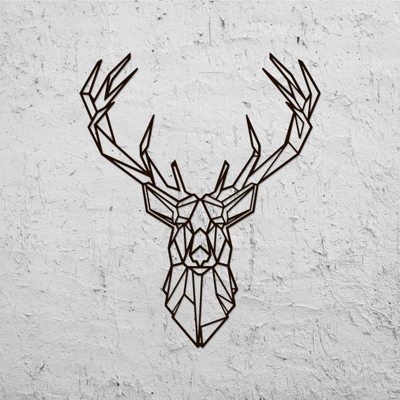 good Deer Head Wall Art Part - 14: Metal Wall Art Head Deer Geometric Animal Home Decor Interior | Etsy