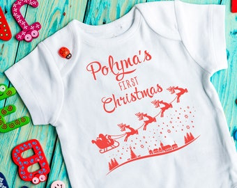 Christmas baby Bodysuit, Personalised, First Christmas, Christmas baby outfit, Baby Clothing, christmas outfit