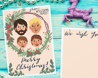 Custom Illustrate Christmas card. Personalized card. Portrait card, family illustrates greeting cards, holiday card. Printable card.