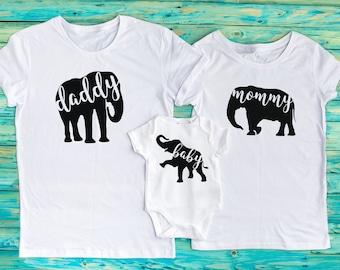 06a48afdb31475 Elephant T-shirts Elephant daddy shirt Elephant mommy shirt Elephant baby  onesie or t-shirt Elephant family Matching shirts Funny family