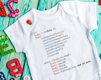 Newborn Stats bodysuit Birth announcement Baby announcement bodysuit Programming bodysuit Coding bodysuit Geek baby HTML code gift Nerdy