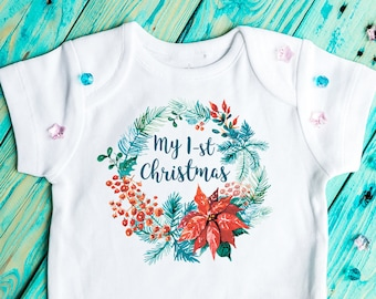 Christmas baby Bodysuit, My First Christmas, Christmas baby outfit, Baby Clothing, christmas outfit,  Christmas wreath