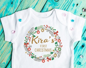 Christmas baby Bodysuit, Personalised, My First Christmas, Christmas baby outfit, Baby Clothing, christmas outfit,  Christmas wreath