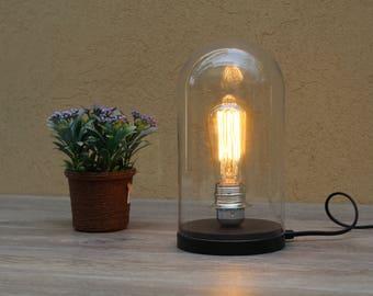 Slaapkamer Lamp Zwart : Bell jar lamp etsy