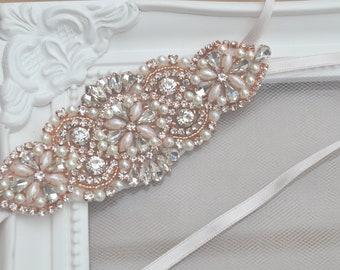 e3c474545ee Bridal Garter  Camila  - Rose Gold Rhinestone and Pearl Wedding Garter - Bridal  Accessories