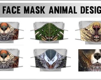 Face cover masks - Fox, Dog, Western Dragon, Sergal, Bernese Moutain Dog
