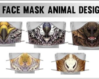 Face cover masks -Griffin, Asian Dragon, Hyena, Bunny, Horse