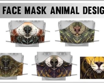 Face cover masks - Red Panda, Bat, Racoon, Rat, Lion