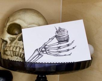 Gothic Skeleton Cupcake Birthday Card