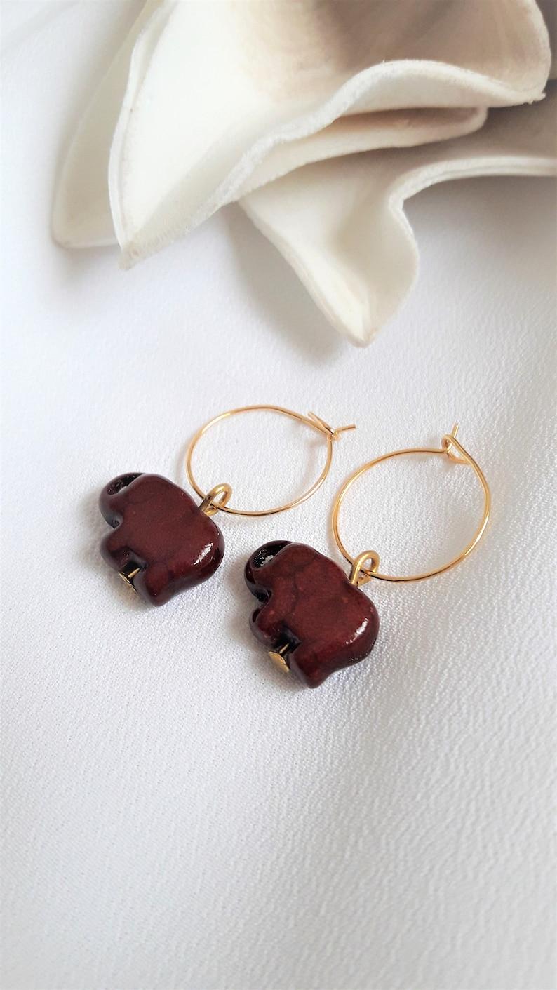 Elephant hoop Earrings  Elephant Jewelry  Gold hoop earrings  Gold Earrings  Animal Earrings  Earrings for women  Charm hoop earrings