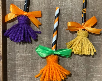 Set of 3 Halloween Sanderson Sisters Hocus Pocus Inspired Mini Halloween Witch Broomsticks for Tiered Tray