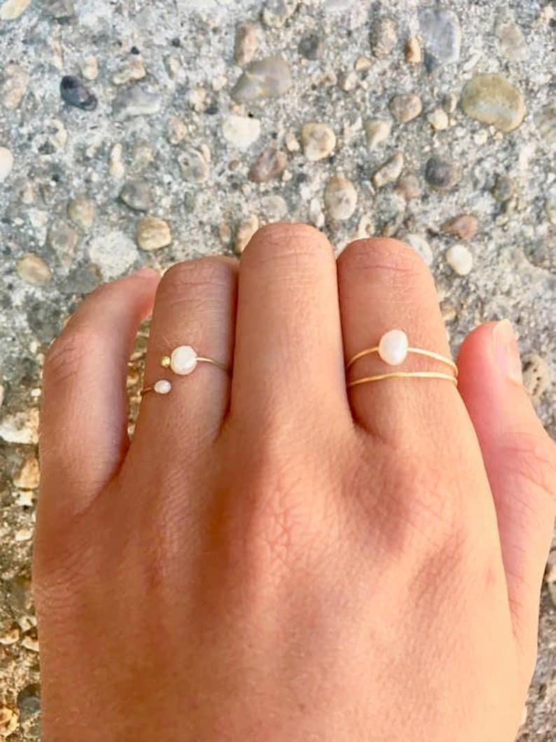 Dainty Pearl Ring Set  Freshwater Pearl Stacking Rings  Wire Wrapped Rings  Minimal Rings  Birthday Gift for Her   Bridesmaid Gift